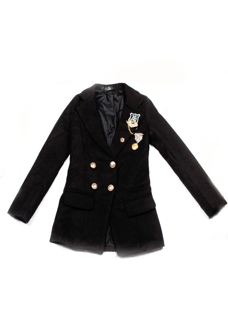 Classy Black Double Gold Buttoned Blazer