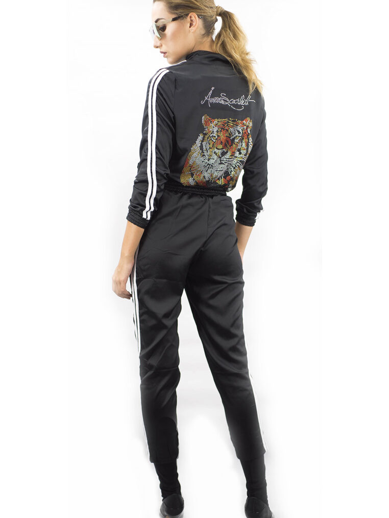 The Harimau Satin Long Pants Tracksuit Set in Black
