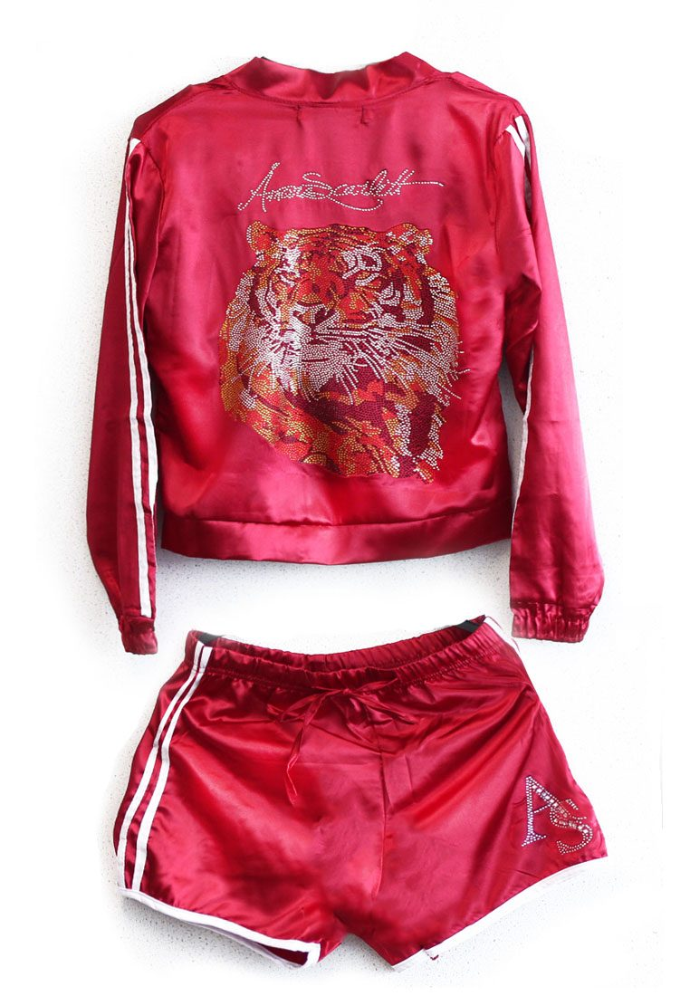 The Harimau Satin Short Pants Tracksuit Set in Red