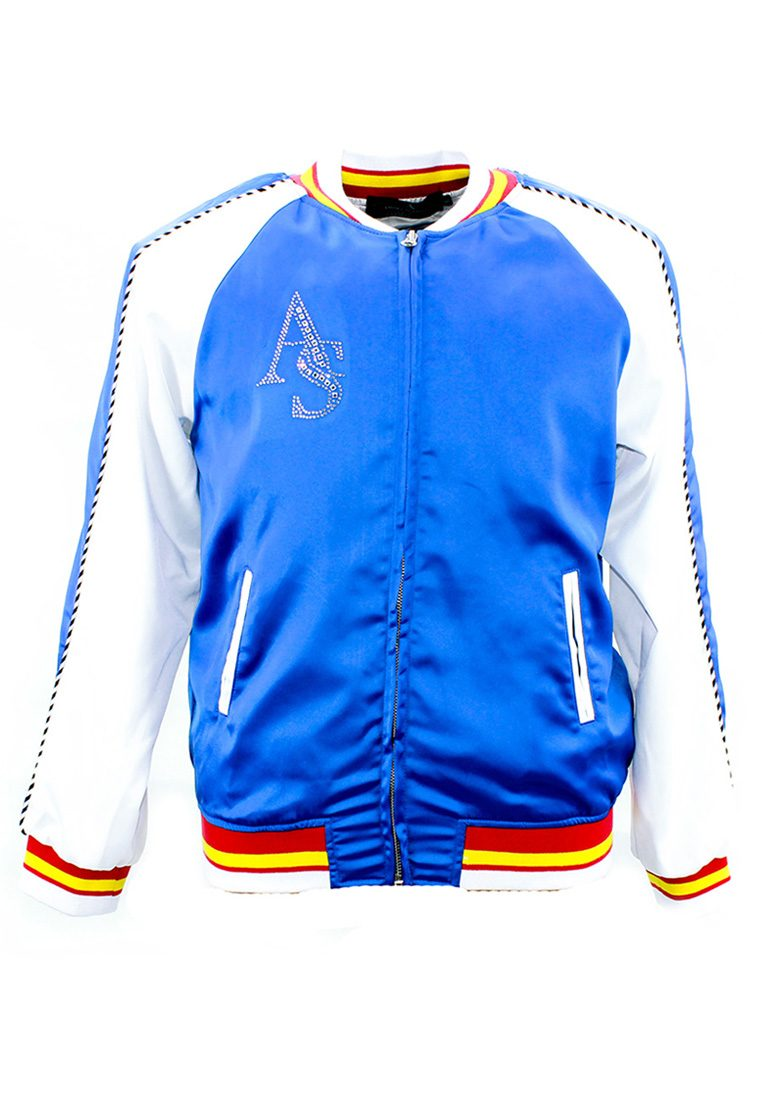 The 'Harimau' Blue Sports Bomber Jacket with Front Logo