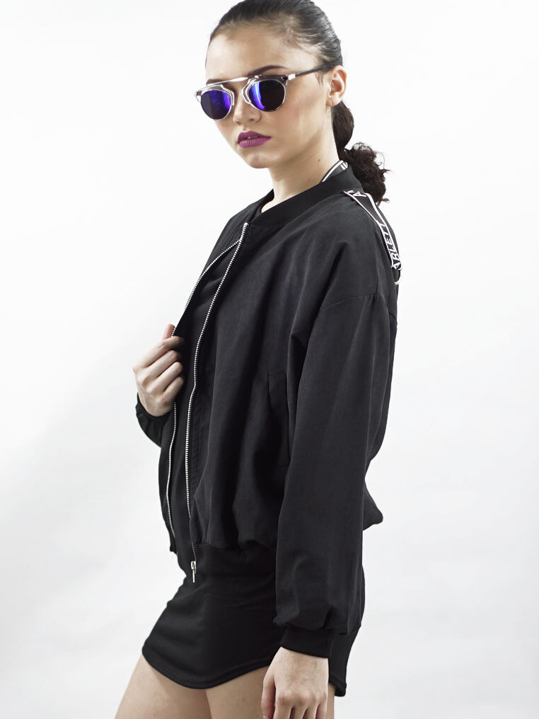 Minimalist Cool Amora Bomber Jacket in Black Matte