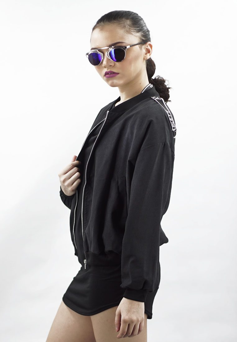 Minimalist Cool Amora Bomber Jacket in Black Matte