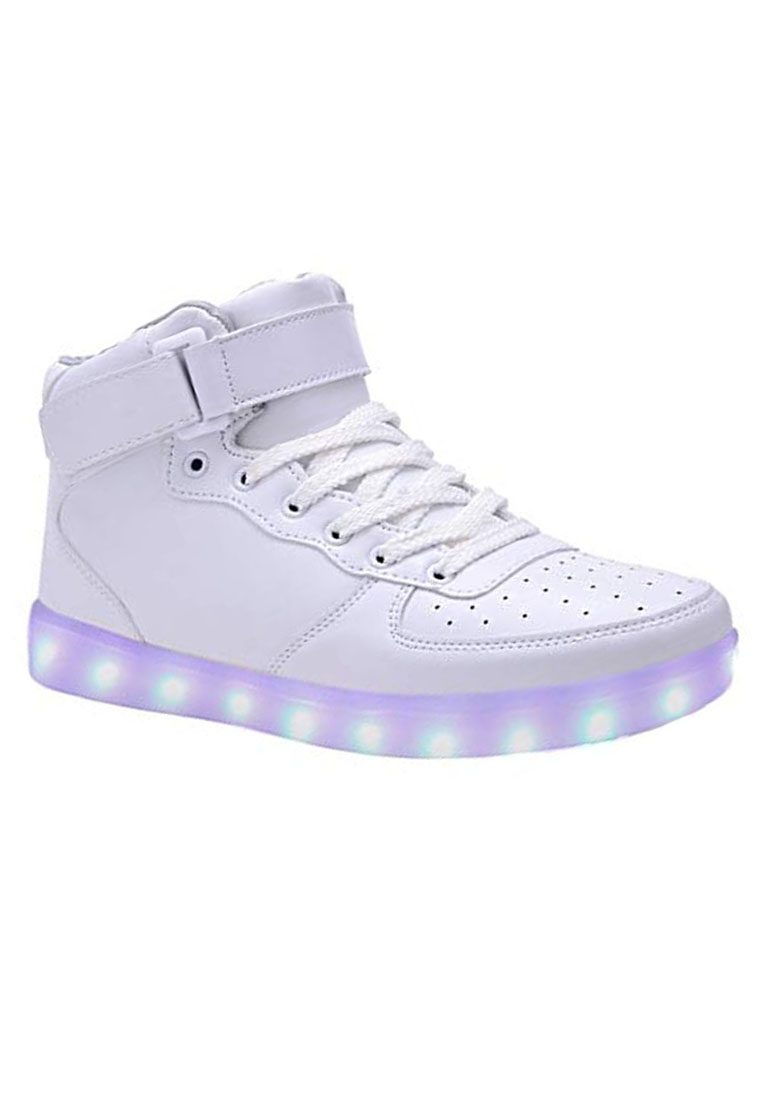 LED 7 Colors Animated Lights High Top Pure White Sneakers