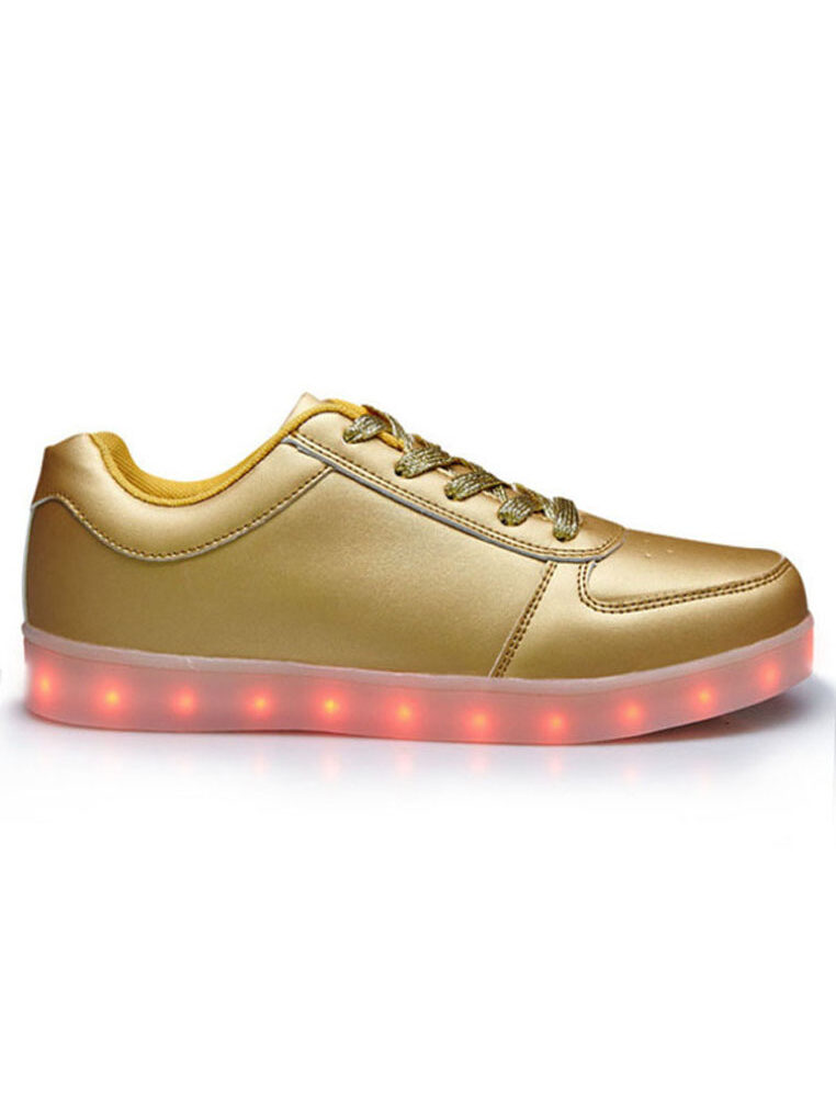 LED 7 Colors Animated Lights Low Top Light Gold Laced Shoes