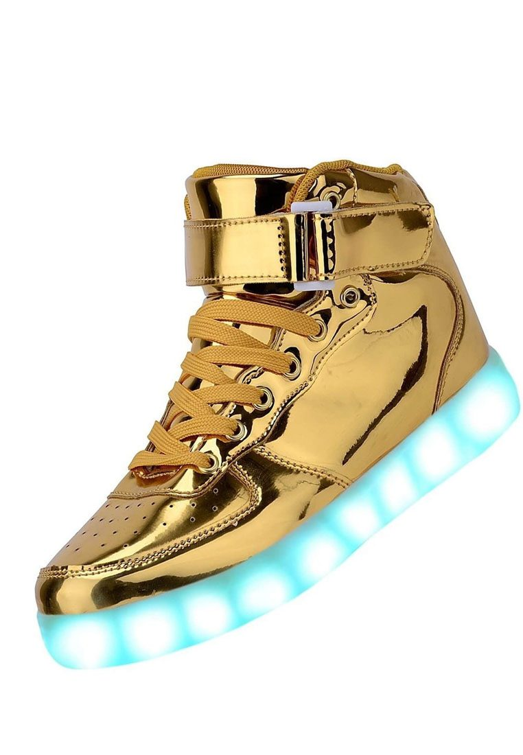 LED 7 Colors Animated Lights High Top Chrome Gold Shoes