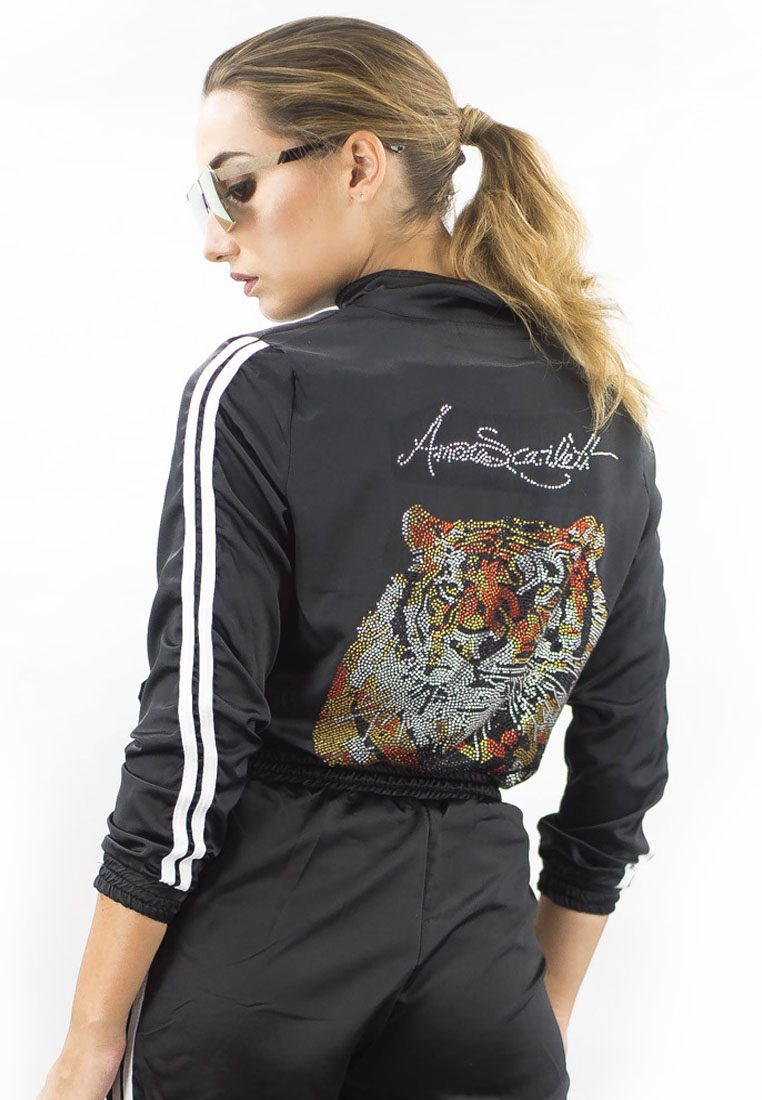 The Harimau Satin Short Pants Tracksuit Set in Black