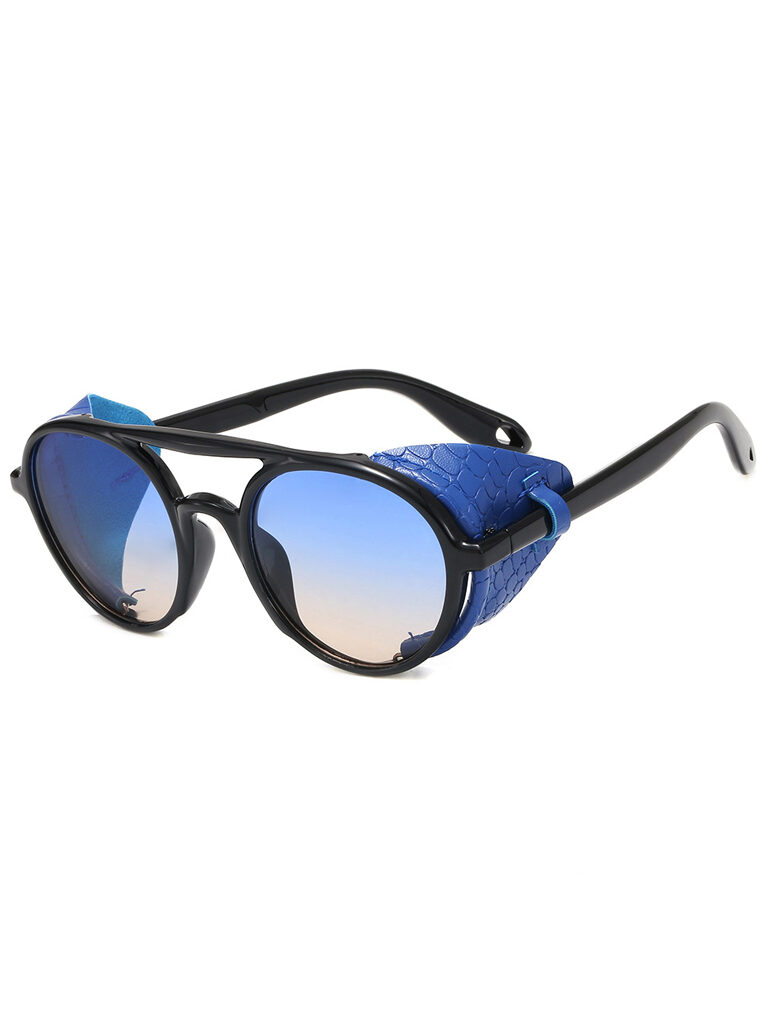 Steampunk Leather Eyewear in Blue
