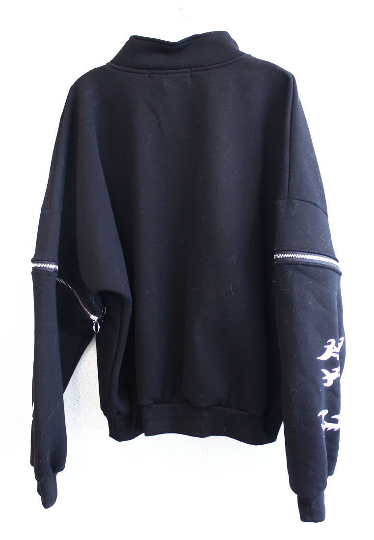 Stylo Velvet Sweat-shirt with Open Zipper Sleeves