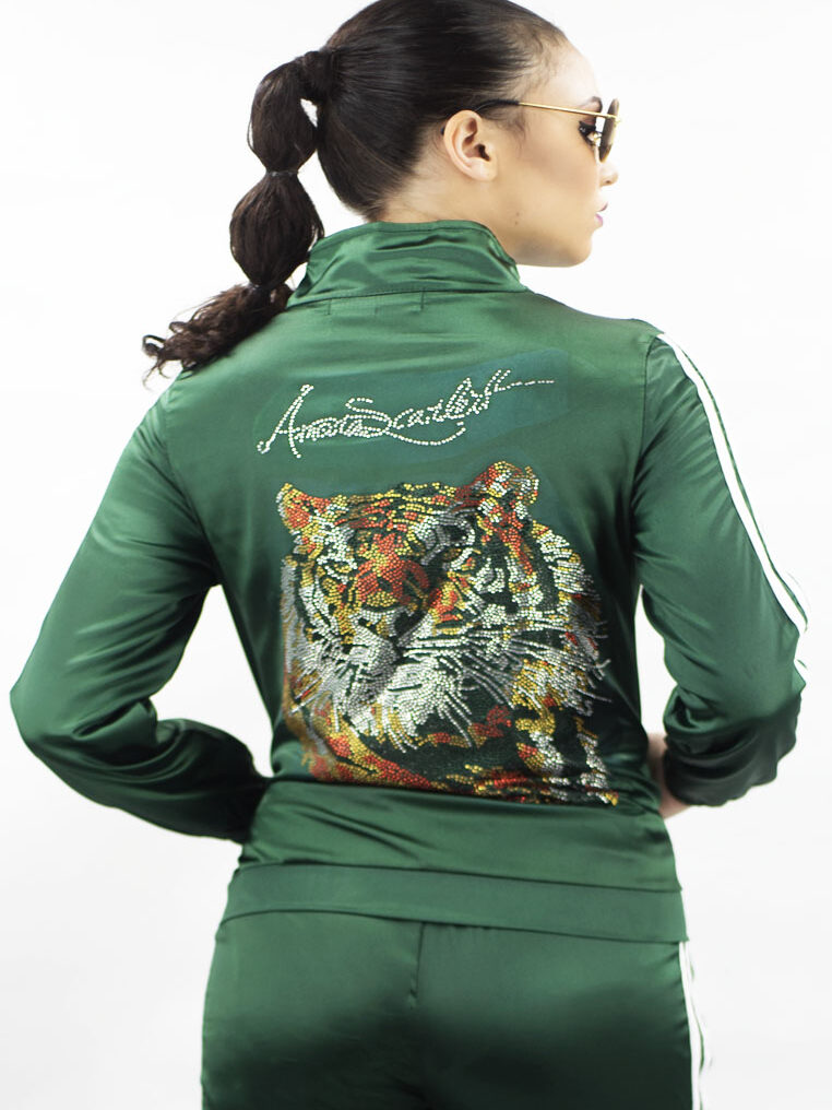 Green Tracksuit Set with Bling Tiger